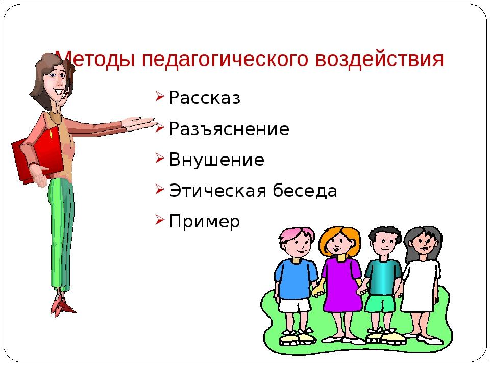 Методы педагогического воздействия Рассказ Разъяснение Внушение Этическая бес...