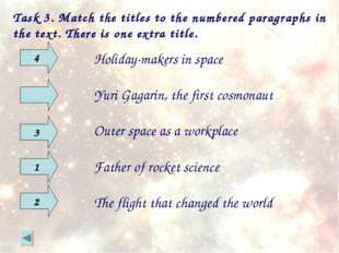 Task 3. Match the titles to the numbered paragraphs in the text. There is one