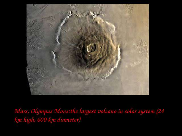 Mars, Olympus Mons:the largest volcano in solar system (24 km high, 600 km di...