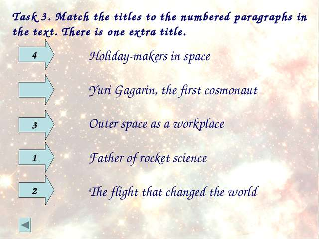 Task 3. Match the titles to the numbered paragraphs in the text. There is one...
