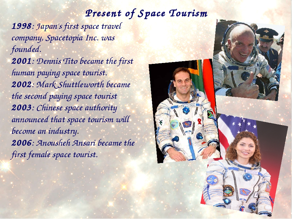1998: Japan's first space travel company, Spacetopia Inc. was founded. 2001:...