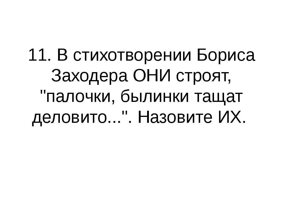 """11. В стихотворении Бориса Заходера ОНИ строят, """"палочки, былинки тащат делов..."""
