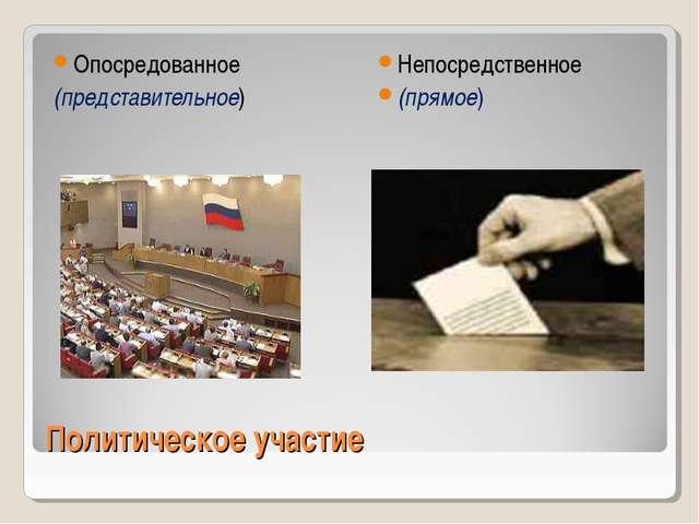 Политическое участие Опосредованное (представительное) Непосредственное (прям...