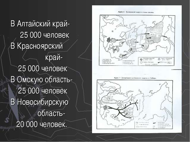 В Алтайский край- 25 000 человек В Красноярский край- 25 000 человек В Омску...