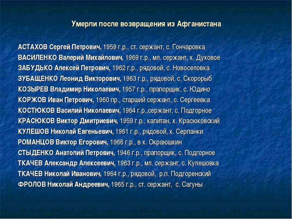 Умерли после возвращения из Афганистана АСТАХОВ Сергей Петрович, 1959 г.р.,...