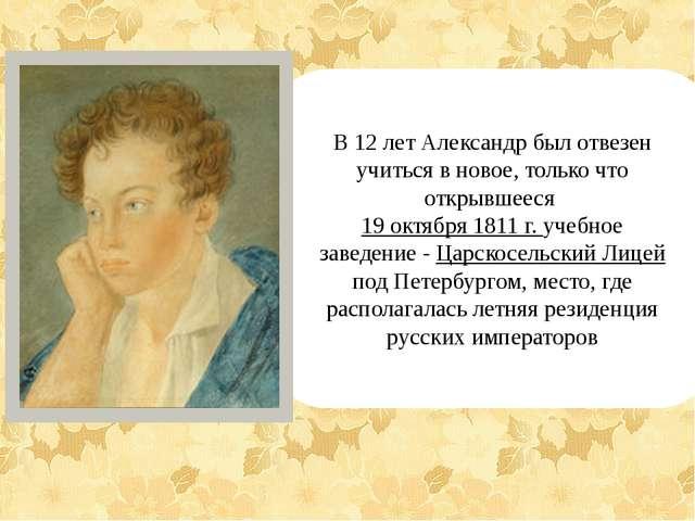 В 12 лет Александр был отвезен учиться в новое, только что открывшееся 19 ок...