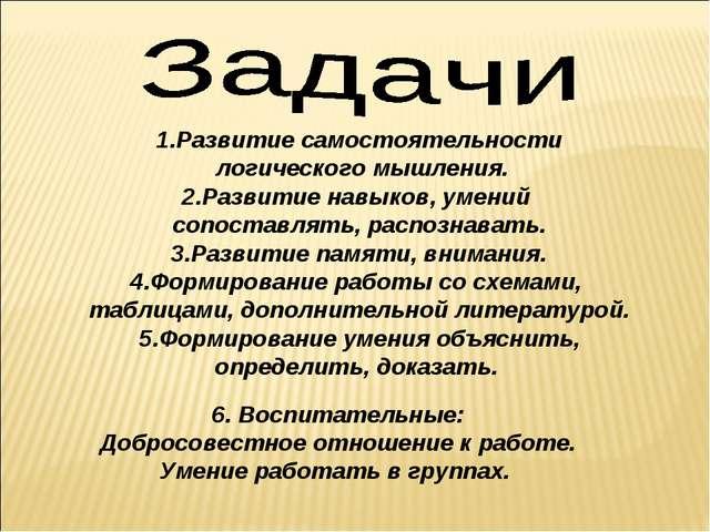 1.Развитие самостоятельности логического мышления. 2.Развитие навыков, умений...