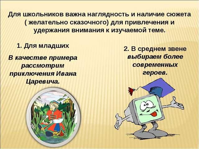 Для школьников важна наглядность и наличие сюжета ( желательно сказочного) дл...