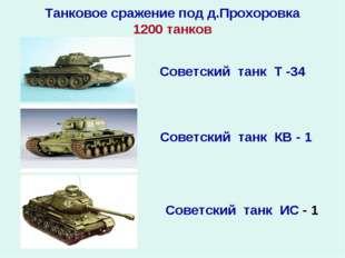 Танковое сражение под д.Прохоровка 1200 танков Советский танк Т -34 Советский