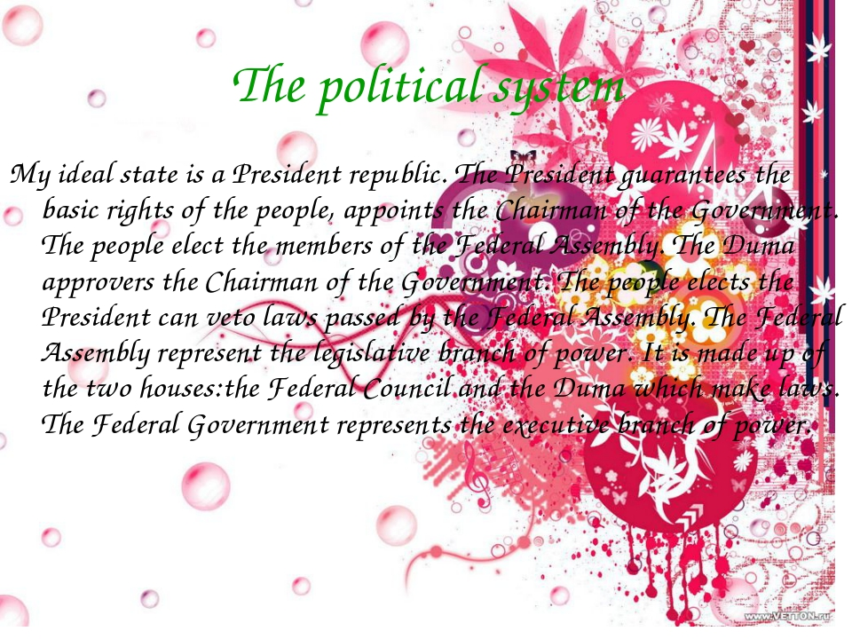 The political system My ideal state is a President republic. The President gu...