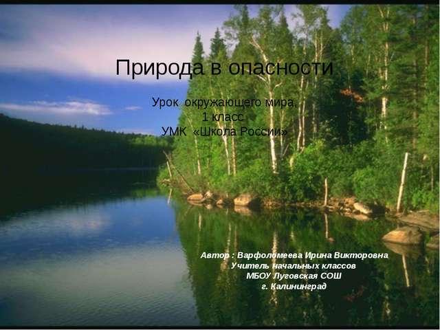 Природа в опасности Урок окружающего мира, 1 класс УМК «Школа России» Автор :...