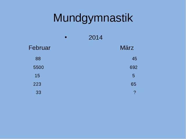 Mundgymnastik 2014 Februar März 88 45 5500 692 15 5 223 65 33 ?