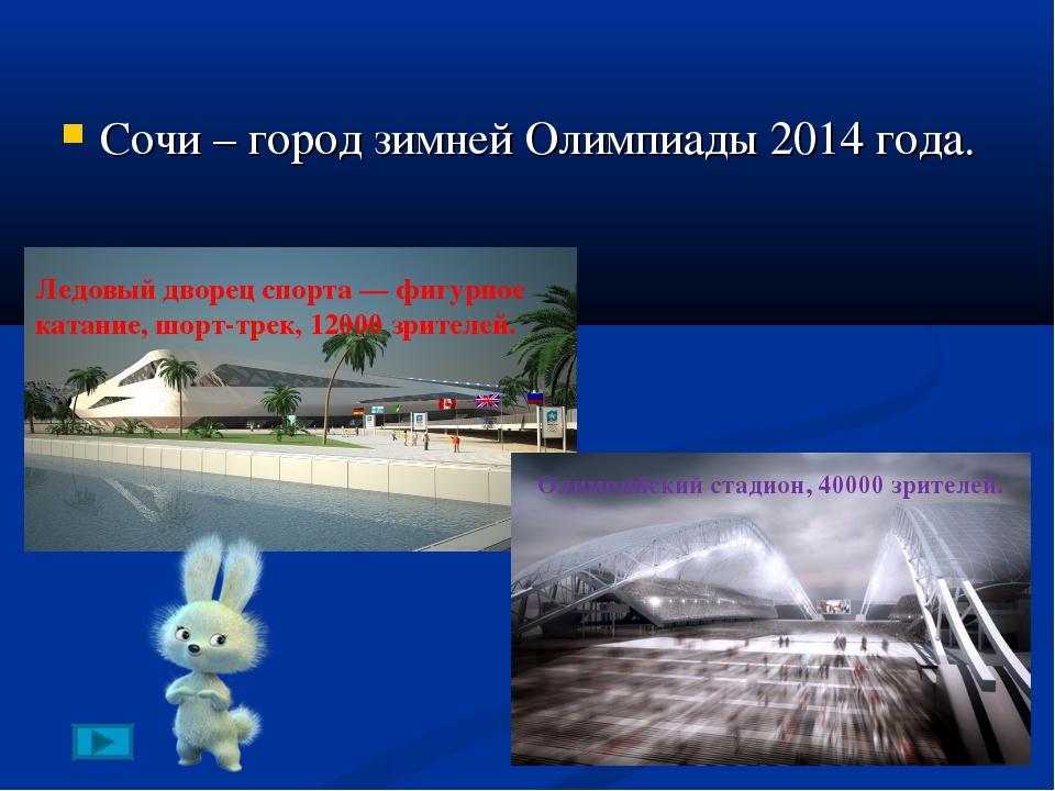 Сочи – город зимней Олимпиады 2014 года. Ледовый дворец спорта— фигурное ка...