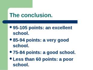 The conclusion. 95-105 points: an excellent school. 85-94 points: a very good