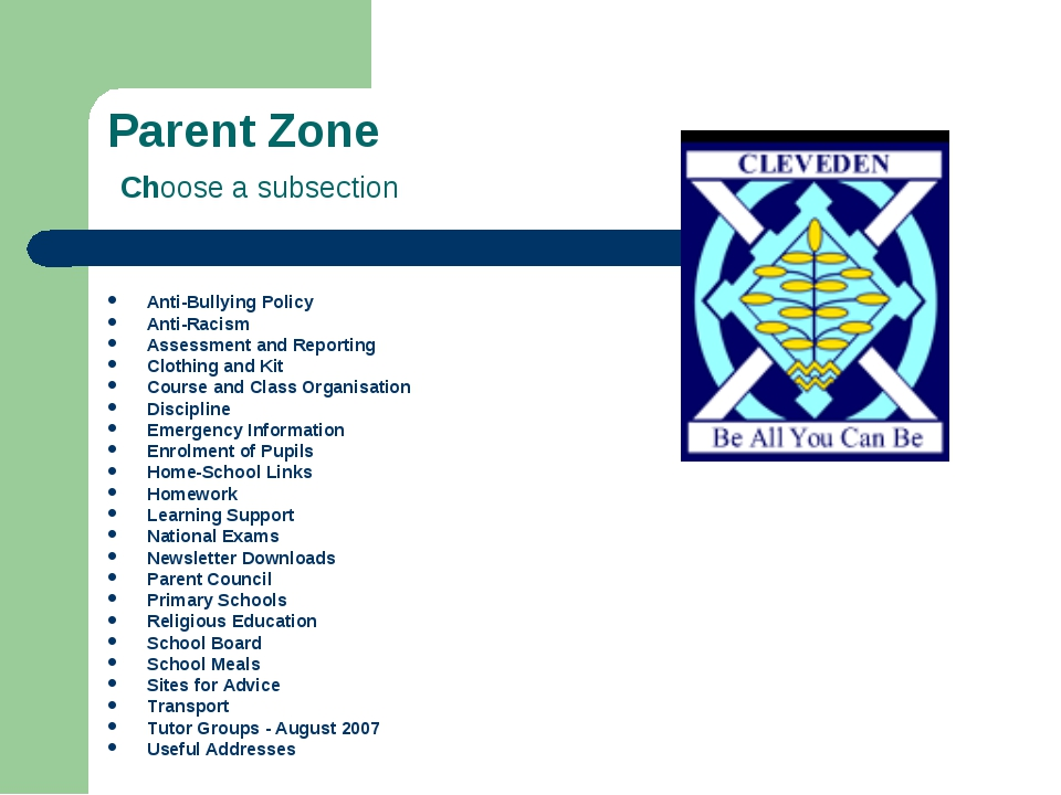 Parent Zone Choose a subsection Anti-Bullying Policy Anti-Racism Assessment a...