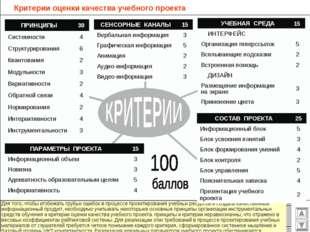 Критерии оценки качества учебного проекта 15 УЧЕБНАЯ СРЕДА ИНТЕРФЕЙС Органи