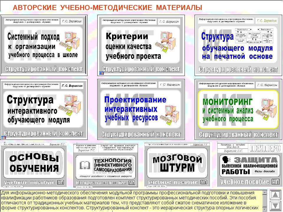 АВТОРСКИЕ УЧЕБНО-МЕТОДИЧЕСКИЕ МАТЕРИАЛЫ
