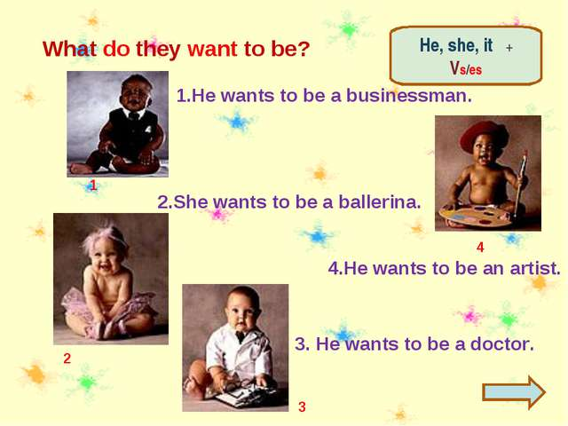 What do they want to be? 3 2 1 1.He wants to be a businessman. 2.She wants to...