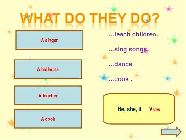 A teacher teaches children. A teacher …teach children. …sing songs. …dance. …...