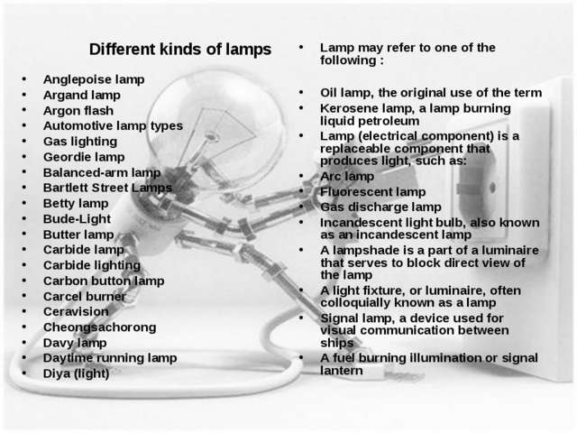 Different kinds of lamps Anglepoise lamp Argand lamp Argon flash Automotive l...