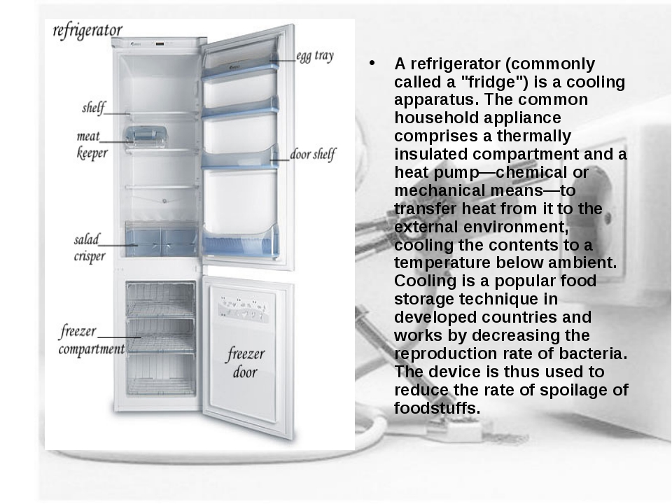 """A refrigerator (commonly called a """"fridge"""") is a cooling apparatus. The commo..."""