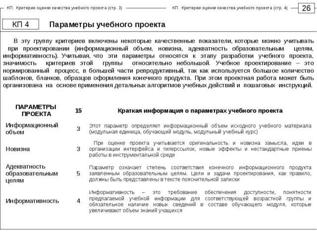 Параметры учебного проекта 26 КП 4 В эту группу критериев включены некоторые...