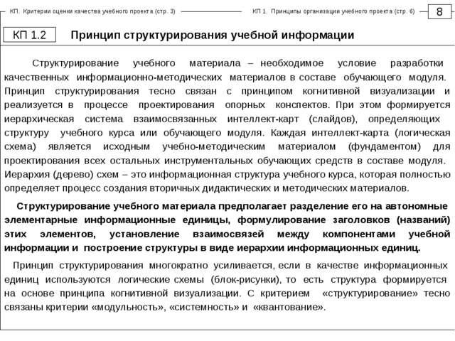 Принцип структурирования учебной информации 8 КП 1.2 Структурирование учебног...