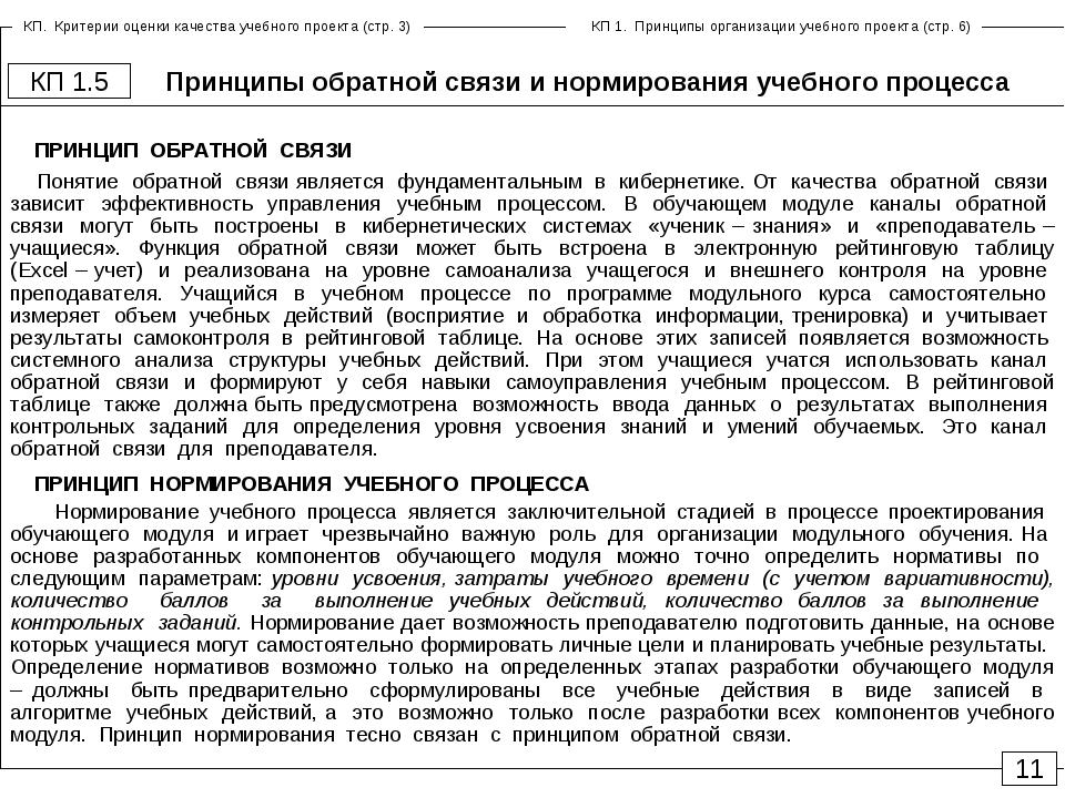 Принципы обратной связи и нормирования учебного процесса КП 1.5 11 ПРИНЦИП ОБ...