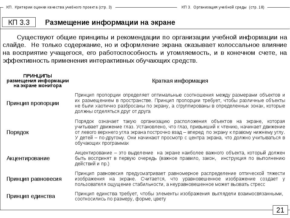Размещение информации на экране КП 3.3 21 Существуют общие принципы и рекомен...
