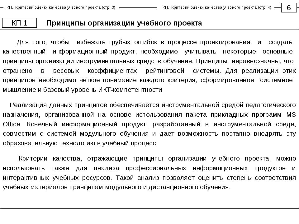 Принципы организации учебного проекта 6 КП 1 Для того, чтобы избежать грубых...