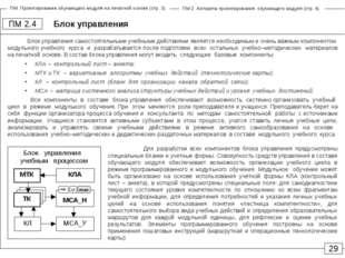 Блок управления ПМ 2.4 29 Блок управления самостоятельными учебными действиям