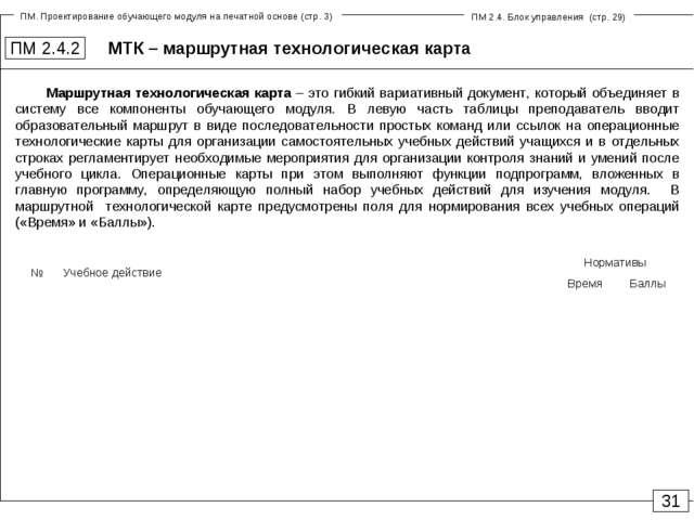 МТК – маршрутная технологическая карта ПМ 2.4.2 31 Маршрутная технологическая...