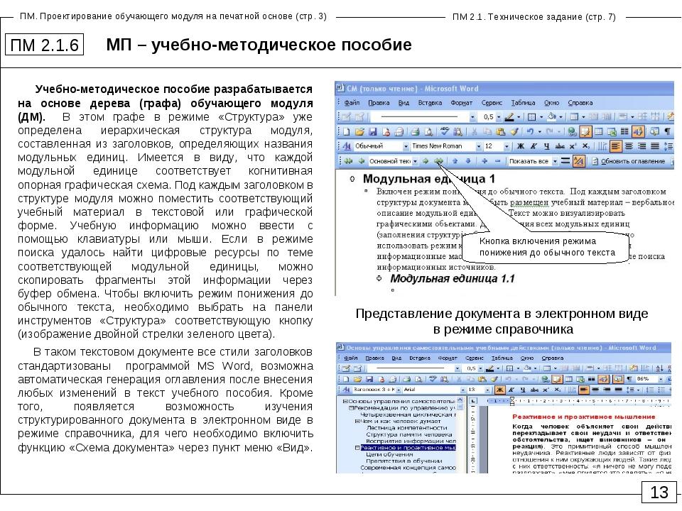 МП – учебно-методическое пособие ПМ 2.1.6 Учебно-методическое пособие разраба...