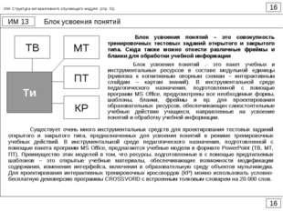 Блок усвоения понятий 16 ИМ 13 16 ИМ. Структура интерактивного обучающего мод