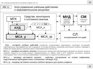 Блок управления учебными действиями и образовательными ресурсами 04 ИМ 11 04