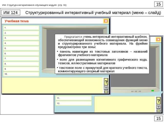 Структурированный интерактивный учебный материал (меню – слайд) 15 ИМ 124 15...