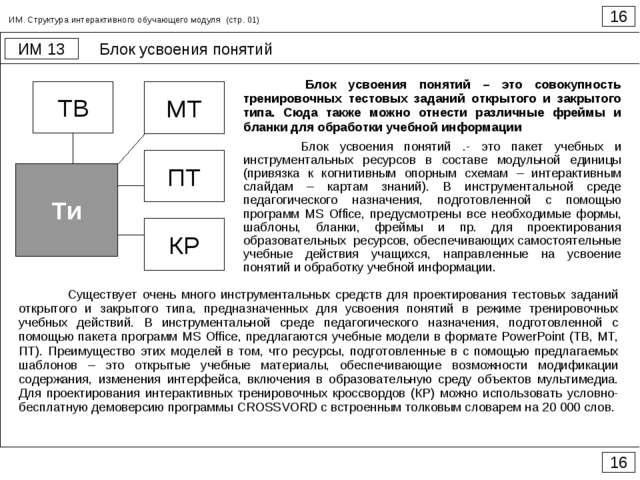 Блок усвоения понятий 16 ИМ 13 16 ИМ. Структура интерактивного обучающего мод...