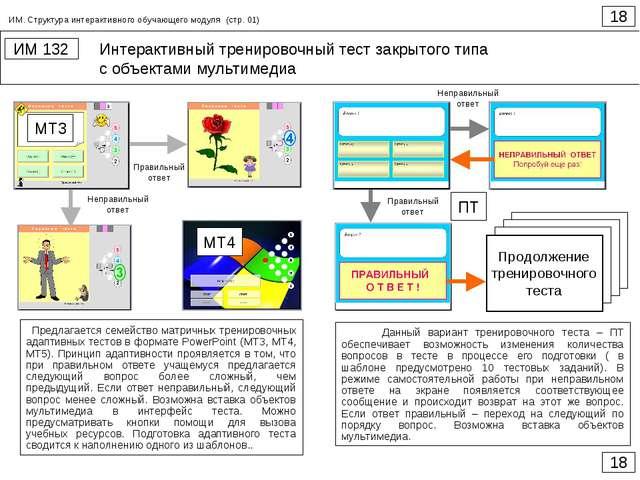 Интерактивный тренировочный тест закрытого типа с объектами мультимедиа 18 ИМ...