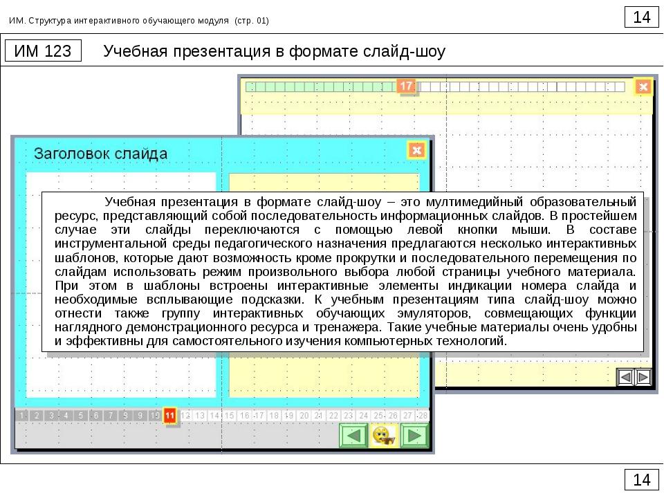 Учебная презентация в формате слайд-шоу 14 ИМ 123 14 ИМ. Структура интерактив...