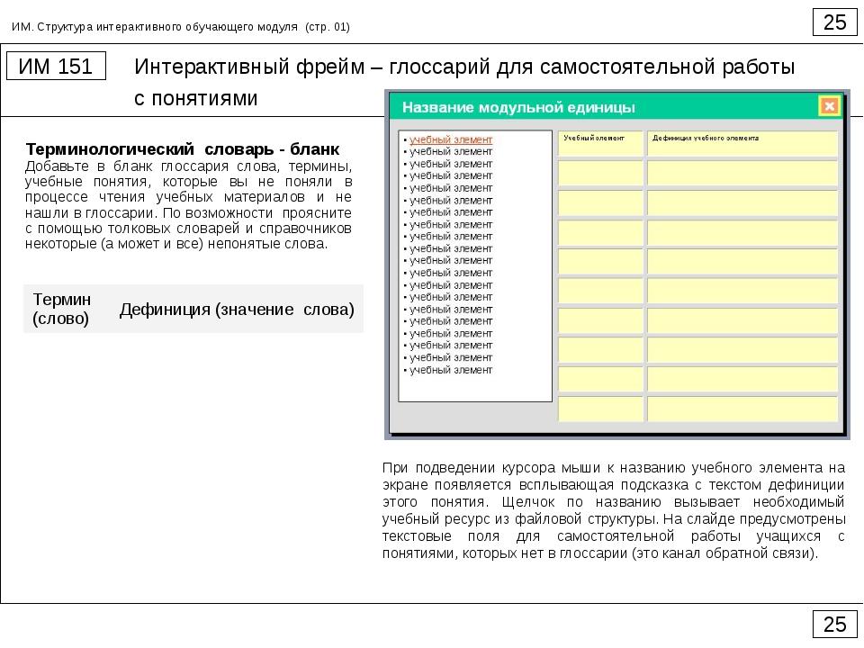 Интерактивный фрейм – глоссарий для самостоятельной работы с понятиями 25 ИМ...