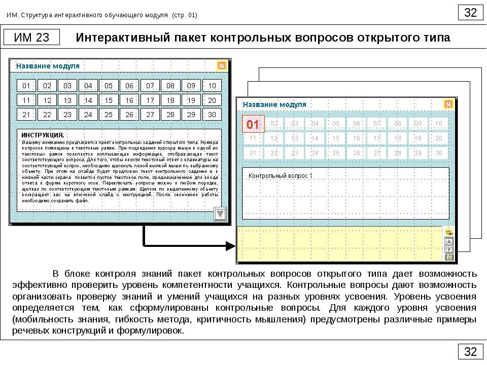 Интерактивный пакет контрольных вопросов открытого типа 32 ИМ 23 32 ИМ. Струк...
