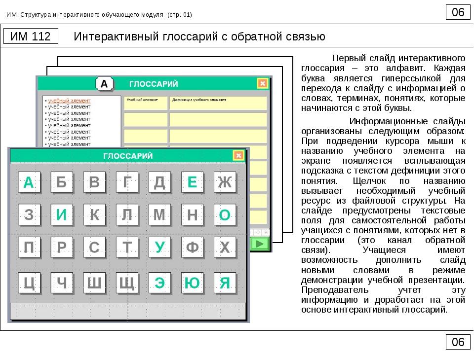 Интерактивный глоссарий с обратной связью 06 ИМ 112 06 ИМ. Структура интеракт...