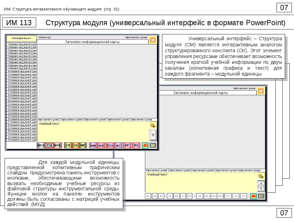 Структура модуля (универсальный интерфейс в формате PowerPoint) 07 ИМ 113 07...