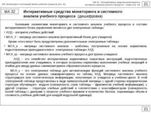 Интерактивные средства мониторинга и системного анализа учебного процесса (де