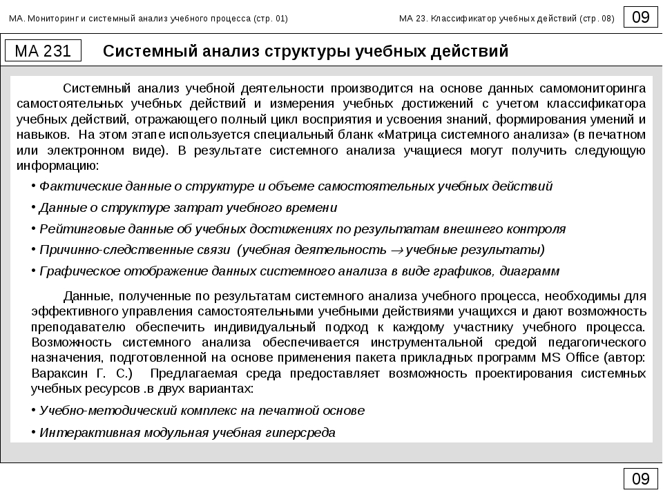 Системный анализ структуры учебных действий 09 МА 231 09 Системный анализ уче...