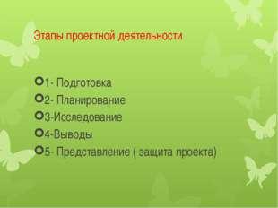 Этапы проектной деятельности 1- Подготовка 2- Планирование 3-Исследование 4-В