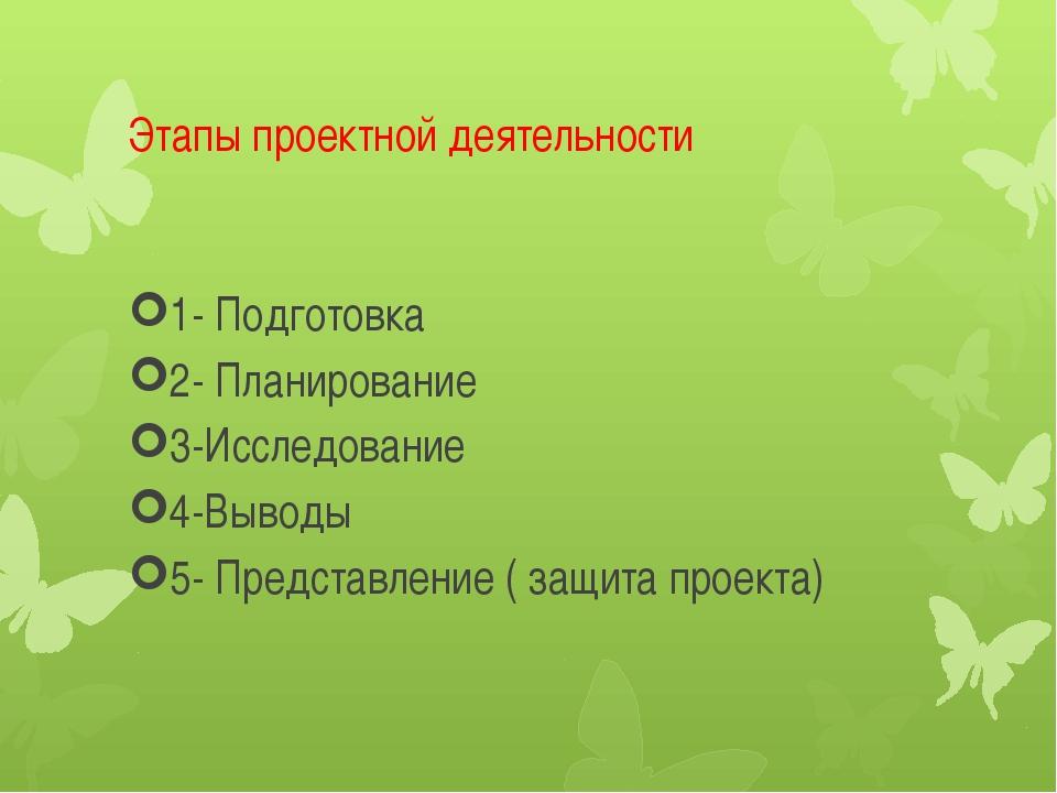 Этапы проектной деятельности 1- Подготовка 2- Планирование 3-Исследование 4-В...
