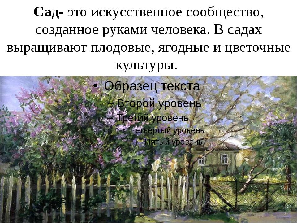 Сад- это искусственное сообщество, созданное руками человека. В садах выращив...