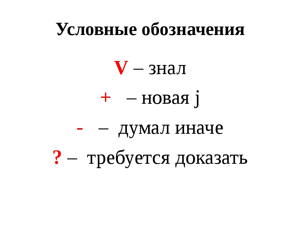Условные обозначения V – знал + – новая j - – думал иначе ? – требуется доказ...