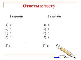 Ответы к тесту 1 вариант 1) б 2) г 3) а 4) г _____________ 5) а 2 вариант 1)